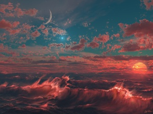 Ocean-of-Fire-with-Moon-Wallpaper